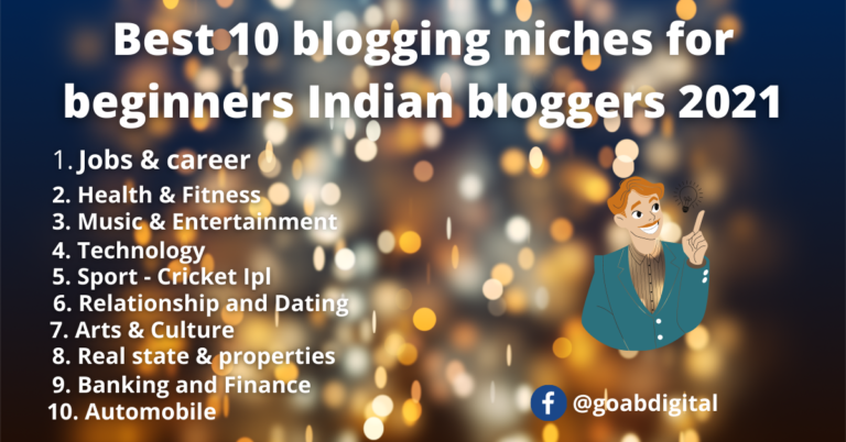 Read more about the article Best 10 blogging niches for beginners Indian bloggers 2021